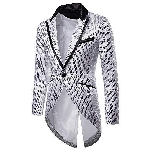 KPILP SakkosMen's Anzugjacken Tuxedo Fashion for Party Handsome Oberteile Charm Casual One Button Fit Suit Blazer Coat Jacket Autumn Winter(Silber,EU-54/CN-M