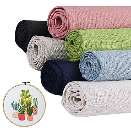 7 Pcs/Set Linen Needlework Fabric Solid Colour Cloth Garments Crafts Accessories Square Embroidery Cloth (5050CM)