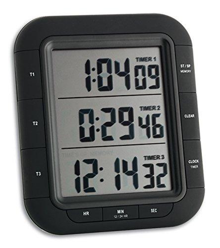 TFA Dostmann Triple XL, digitaler 3-Fach Timer, 38.2023, mit Uhrzeit, Memory-Funktion, mit Stoppuhr Kunststoff, schwarz, (L) (B) 20 (61) x (H) 121 (103) mm