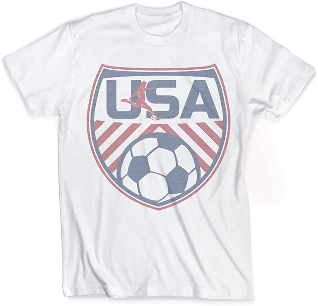 USA Soccer Male Silhouette T-Shirt | Vintage Faded Soccer T-Shirt | Youth and Adult Sizes