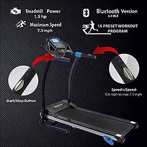 SereneLife Smart Digital Folding Treadmill - Electric Foldable Exercise Fitness Machine, Large Running Surface, 3 Incline Settings, 16 Preset Program, Sports App for Running & Walking (SLFTRD25)