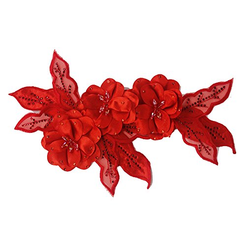 1pieces 3D Flower Beaded Rhinestones Lace Applique Patches Bridal Wedding Dress Decorated Motifs Applique for Hairband Brooch (Red)