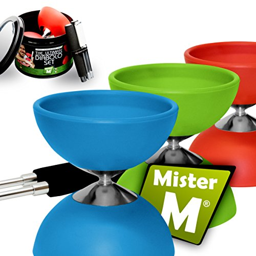 """Diabolo ✓ """"The Ultimate Set Sticks with String ✓ Extra String ✓ Online Video - Designed and Tested by """"Mister M"""" (Blue)"""