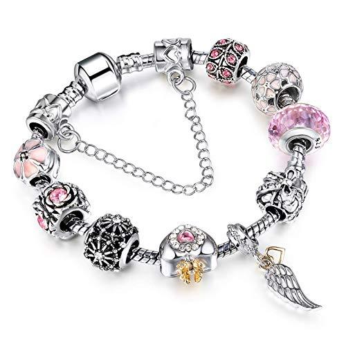 Gymqian Charms Ajustable Pulsera Bangle Love Crystal Flower Beads para Las Mujeres Regalo de la Niña con la Cadena de Serpiente Plateada Desgaste diario / 20cm