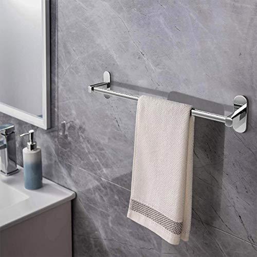 KINLO Handtuchhalter Handtuchstange Ohne Bohren Badetuchhalter Selbstklebend Wandmontage 50CM Edelstahl für Badzimmer Handtuch Badetücher Kleidung (Tragfähigkeit: 5 KG)