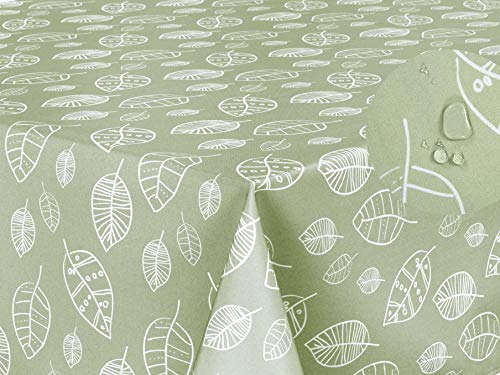 Mantel Antimanchas, Resistente a Líquidos 100% poliéster, Rectangular 140 x 180cm Hojas Verde Salvia