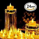 Zenoplige Teelichter batterie 24 Flameless Kerzen inkl. Batterien CR2032, flammenlose LED Teelichter flackernd Kerzen mit Flackereffekt Warmweiß - 3