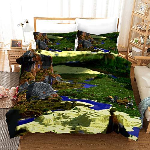 YOMOCO Minecraft:Story Mode Bettbezug Bettwäsche Set - Bettbezug und Kissenbezug,Mikrofaser,3D Digital Print dreiteiliger Bettwäsche (01,Single 135x200cm)