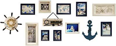 10 Piece Wood Photo Frame Wall Gallery Kit. Includes: Frames, Hanging Wall Template, Decorative Art Prints and Hanging Hardware