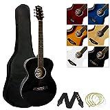Tiger ACG2-BK Guitarra acústica de tamaño completo para principiantes - Negro