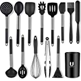 Uarter Silicone Cooking Utensil Set 14 Pcs, BPA Free Kitchen Utensils Cooking Utensils Set, Non-Stick Heat Resistant Silicone Cookware with Stainless Steel Handle