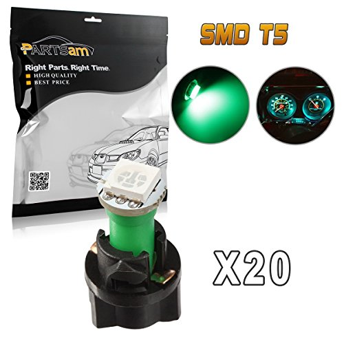 Partsam 20PCS Green T5 37 74 PC74 5050 SMD Instrument Panel LED Light Gauge Cluster Dash Indicator Bulbs with Twist Lock Socket