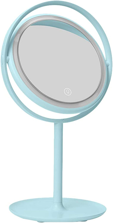Schminkspiegel Led Lampe Desktop Folding Tragbare Schlafsaal Tischlampe Dressing Spiegel Lostgaming (Farbe   Blau)