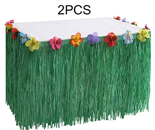 Hawaiian Luau Grass Table Skirt Decorations Hula - Hibiscus Tropical Pool Birthday Party Supplies (2 PCS)