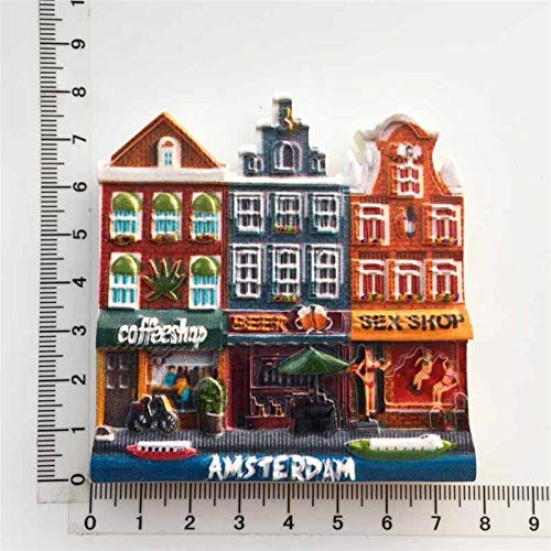 yywl Imán de refrigerador Holanda Creative Frigorífico Imán Souvenir Amsterdam Street Cultural Paisaje Turista Regalo Ideas 3D Resina Frigorífico Imán Decoración (Color : 6)