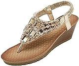 TOPNIU Vacation Must Haves Infradito da donna con zeppa alla caviglia, sandali alla moda con strass e plateau, sandali per il massimo comfort (colore: dorato, taglia: 6)
