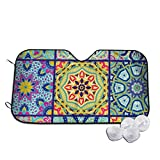 GuoJJ Car Windshield Sun Shade Abstract Colorful Patchwork Blocks UV Rays Sun Visor Protector 130x70cm/51.2x27.5 Inches