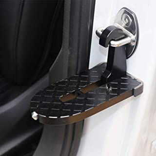 Car Doorstep Vehicle Folding Ladder Foot Pegs Vehicle Hooked on U Shaped Slam Latch Doorstep with Safety Hammer Function Easy Access to Car Rooftop Roof-Rack for Jeep SUV Car Truck