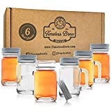 Mason Jar Shot Glasses by Timeless Brew - Set of 6 Cute Shot Glasses for Women and Men with Leakproof Lid - Strong andHeavy – Rustic Shot Glasses For Home Bar, Mancave or She Shed or Party Favor