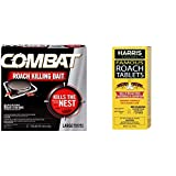Combat Roach Killing Bait, Large Roach Bait Station, Kills The Nest, 8 Count & Harris Famous Roach & Silverfish Killer Tablets (6oz), Treats a Minimum of 12 Rooms, 145+ Tablets Included