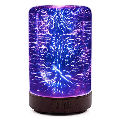 JHD Night Light, Essential Oil Diffuser Humidifier 100ML Glass Aromatherpy Diffusers 7 Color LED Lights Changing and Waterless Auto Shut-Off for Home Bedroom Office Spa Yoga