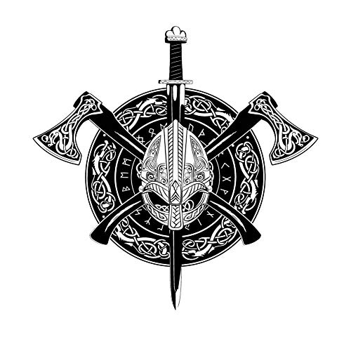 Dark Spark Decals Viking Celtic, Ax,e Sword and Sheild - 4 Inch Full Color Vinyl Decal for Indoor or Outdoor use, Cars, Laptops, Décor, Windows, and More