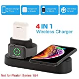 COSOOS Wireless Charger,4in1 Qi Wireless Charging Pad,Charging Station Compatible for iWatch Series 2/3/Nike+/Edition(Not 4&1),Airpods Pro/2/1,iPhone 11Pro Max/11 Pro/11/ XS/XR/X/8/8Plus(with Adapter)