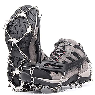 Greatever Crampons for Hiking Boots, Ice Cleats Traction Snow Grips for Boots Shoes, Microspikes Anti Slip 19 Stainless Steel Spikes Safe Protect for Hiking Fishing Walking Climbing Mountaineering