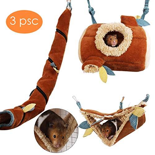 3Er Pack Hamster Hängematte Kleintiere Hängen Fleece Bett Schlafen Nest Spielen Tunnel Käfig Zubehör für Meerschweinchen Igel Schwein