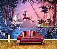 カスタム鹿オオカミ冬の自然動物の写真の壁紙KtvバーリビングルームTVソファの壁寝室ダイニングルームの壁3D写真の壁紙200cmx140cm。