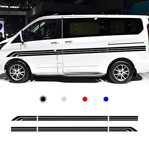 Auto Seitenstreifen Seitenaufkleber Aufkleber für Motorhome Camper Van Rennstreifen Racing Decals Viperstreifen Schwarz 2 Stück