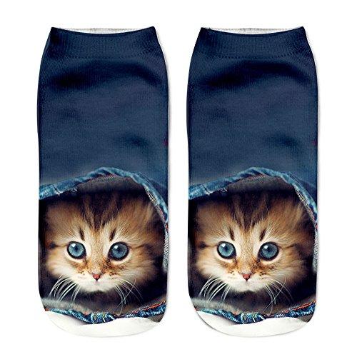 VECDY Socken, Cyber Monday SpecialsMädchen Weihnachten lustige Unisex Kurze Socken 3D Katze gedruckt Fußkettchen Socken Casual Socken