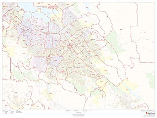 "San José, California Zip Codes - 48"" x 36"" Rolled Canvas Wall Map"