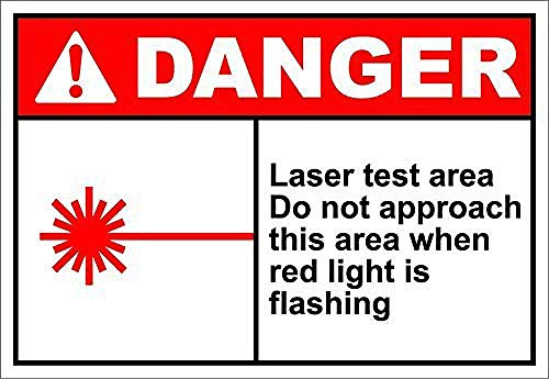 Odeletqweenry Laser Test Area Danger Metal Plaque Tin Wall Sign Retro Iron Warning Wall Poster for Cafe Pub Bar Gaming Room Wedding Gift Aluminum Sign 8 x 12 Inch