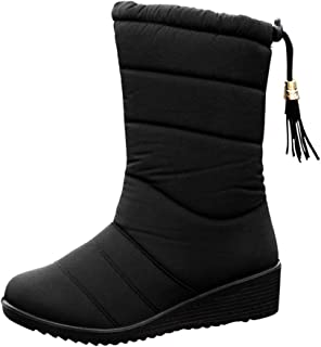 Zandreal 1 Pair Women Lady Boots Warm Thicken Waterproof Solid Color Fashion for Winter