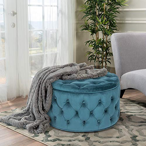 Homebeez Velvet Round Storage Ottoman, Button-Tufted Footrest Stool Bench (Dark Teal)