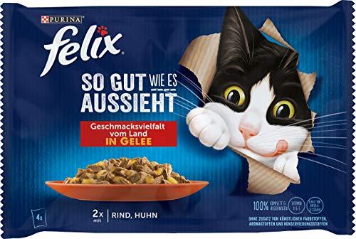 FELIX So gut wie es aussieht Katzenfutter nass in Gelee, mit Huhn & Rind, 12er Pack (12 x 4 Beutel à 85g)