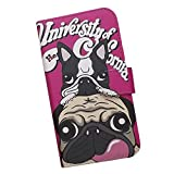 Rakuten Mini SIMフリー 楽天モバイル スマホケース 手帳型 プリントケース スマホ けいすけ おんぶ パグ フレンチブルドッグ 横開き カード収納 カバー サイド開き イヌ 犬 DOG きもかわ かわいい (s005)