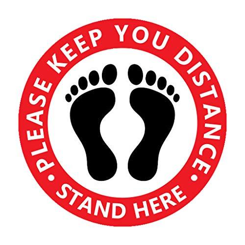 1/5/10 Pcs FußBodenaufkleber Bitte Abstand Halten Aufkleber Fußboden 266 X 266 mm - Please Keep Your Distance, Stand Here (5)