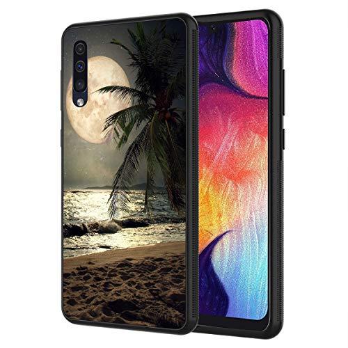 Schutzhülle für Samsung Galaxy A10E, Mond- und Meer-Motiv, Kratzfest, stoßfest, TPU, Schwarz