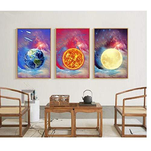 DLFALG aquarel minimalistische moderne kunst geen lijst canvas schilderij wandkunst poster woonkamer wooncultuur kunstwerken - 40 * 60cm * 3 niet ingelijst