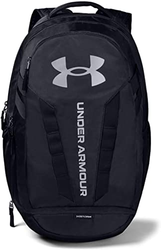 Under Armour Hustle Backpack, Black (001)/Silver, One Size Fits All