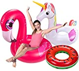 3PCS Pool Floats Adult Set - Unicorn + Flamingo + Watermelon Inflatable Beach Floaties Swimming Ring Toys for Adults, Kids 8-12,Teenager Water Party Supplies