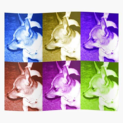 c21 Chihuahua Orange Dog Collage Pink Green Poco McLeod Das eindrucksvollste und stilvollste Poster für Innendekoration, das derzeit erhältlich ist