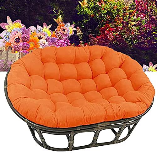 TDHLW Cojín impermeable para silla Papasan al aire libre, sin silla/ovalada, doble colgante, cubierta extraíble, patio interior, jardín, cojín de asiento, naranja, 170 cm x 120 cm
