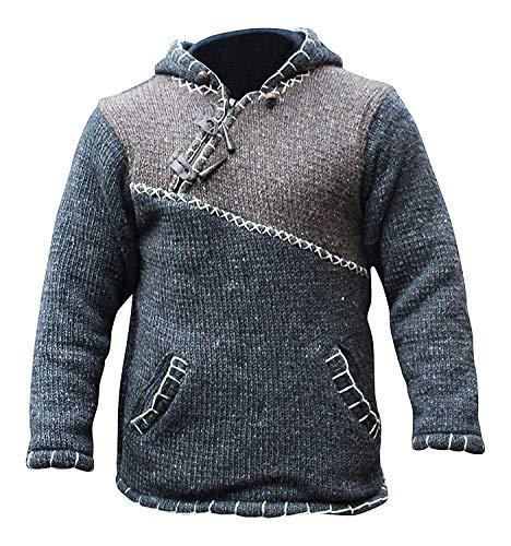 KREUZ mit reißverschluss halsausschnitt super warm pulli style pullover,hippy boho aus wolle kapuzenpulli - Braun, Large
