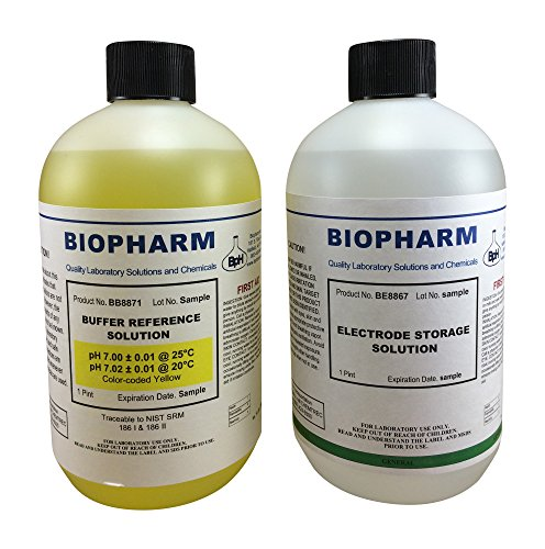 Biopharm pH Buffer Calibration Kit 2-Pack | 500 ml (16oz) Bottles| pH 7.00 and Electrode Storage Solution | NIST Traceable Reference Standard for All pH Meters
