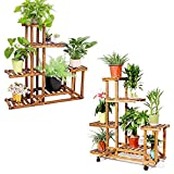 unho Plant Stand with Multi-Layer Display Shelves Indoor Pine Wood Flower Pot Rack Holder for Patio Livingroom Balcony Garden Yard