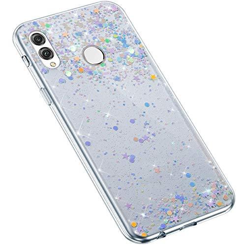 Uposao Kompatibel mit Huawei Honor 8X Hülle Glänzend Bling Glitzer Sterne Pailletten Diamant Transparent TPU Silikon Handyhülle Ultra Dünn Durchsichtige Bumper Case Tasche,Blau Lila