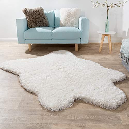 Alfombra Pelo Largo XXL Piel Artificial Oso Polar Flokati Calidad Nueva Blanco, tamaño:60x100 cm